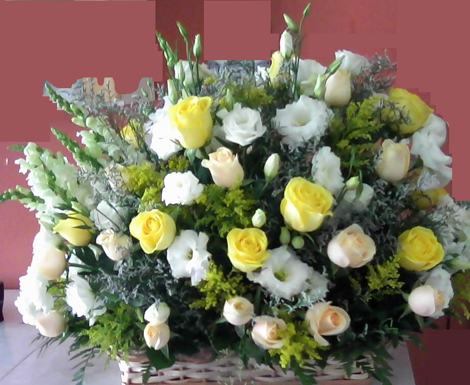 Cesta de Flores do Campo com Rosas